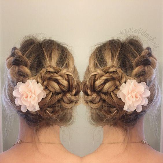 Romantic updo braids balayage updo bun braidedbun