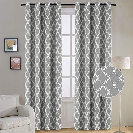 Flamingo P Triple Weave Soft Moroccan Tile Quatrefoil Unlined Thermal Insulated Gromme Thermal Insulated Blackout Curtains Curtains Living Room Geometric Decor