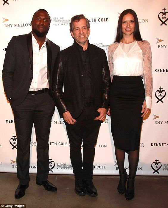 Support: The Brazilian beauty caught up with soccer player Jozy Altidodre, left, and designer and party co-host Kenneth Cole at the event in New York
