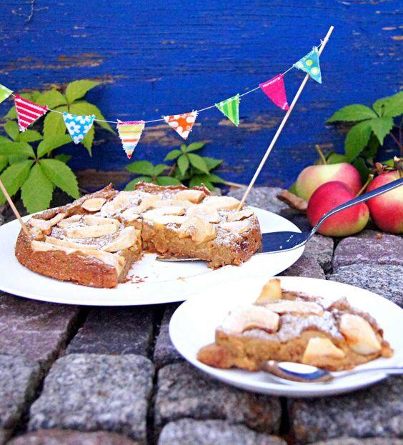 gesunder Apfelkuchen aus Kichererbsen: glutenfrei, vegan, industriezuckerfrei