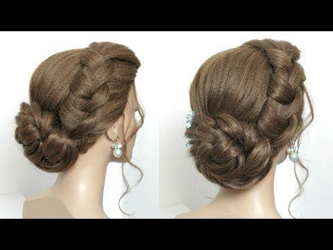 New Juda Hairstyle For Party Simple Twisted Hair Bun Youtube Bridal Hair Buns Hair Styles Hair Twist Bun