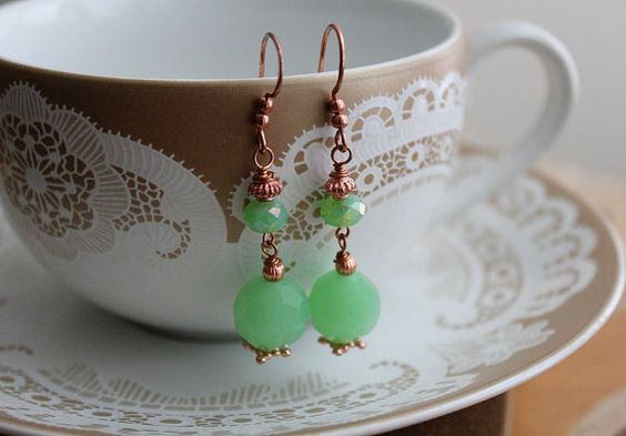 Bollywood Earrings mint green crystal and solid by tortugasdesign, $12.95