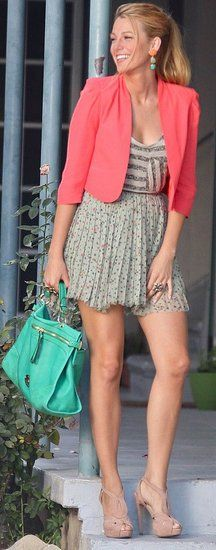 stripes and florals , coral blazer , floral  pleated chiffon skirt.