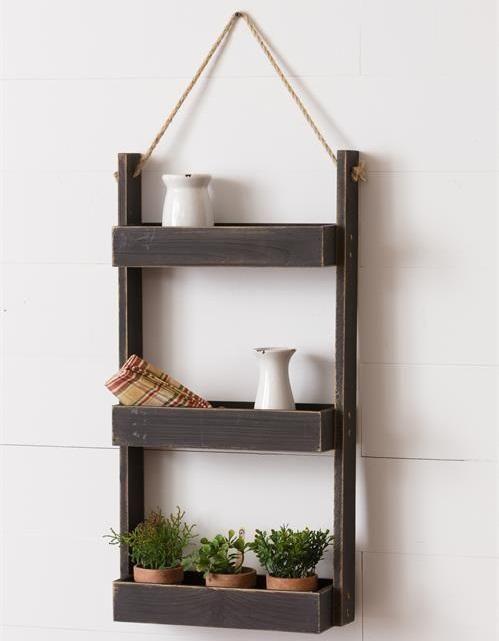 3 Tier Black Hanging Wood And Rope Shelf In 2020 Rope Shelves Diy Hanging Shelves Decor Around Tv