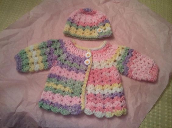 Baby Girl Shell Sweater and Hat: