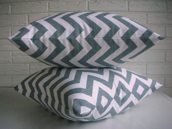 PAIR  Gray Chevron Throw Pillow Covers  by habitationBoheme, $84.00