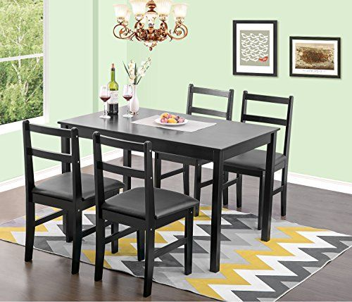 Merax 5pc Dinning Dinette 4 Person Table And Chairs Set Soild Pine