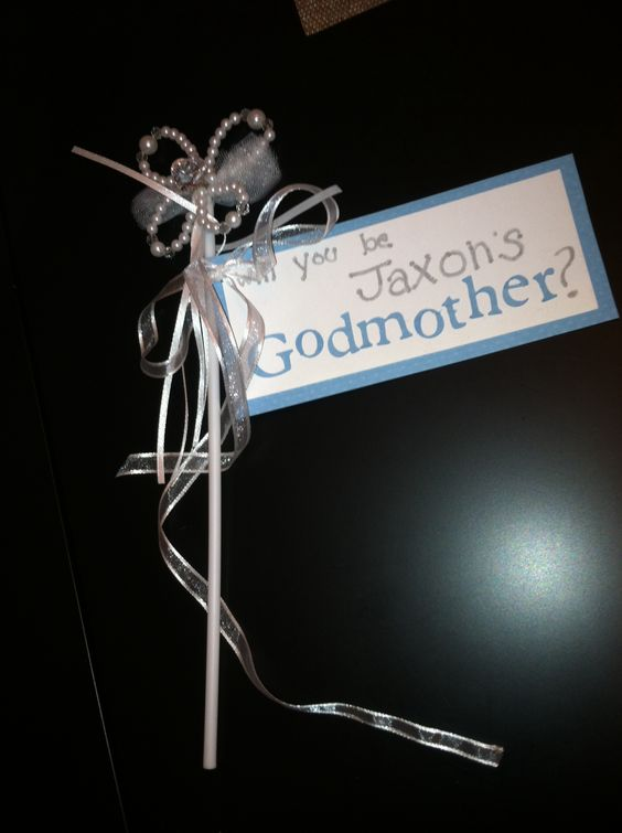 "Fairy ""will you be my godmother?"" wand for baptism/ christening. Cute way to ask if they will be godparents."