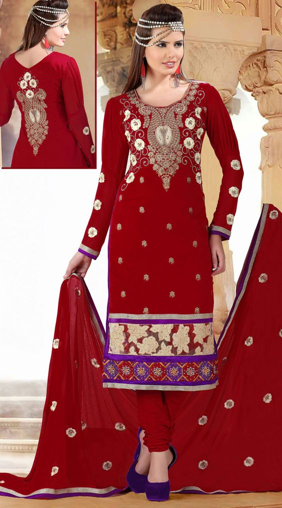 Trendy red cotton and net long churidar kameez which is crafted with cord embroidery work on the yoke and back side, floral embroidery work all over and silver lace work on the border. This suit comes with matching bottom and dupatta. This Salwar Kameez can be stitched in the maximum bust size of 40 inches and kameez length is 46 inches.