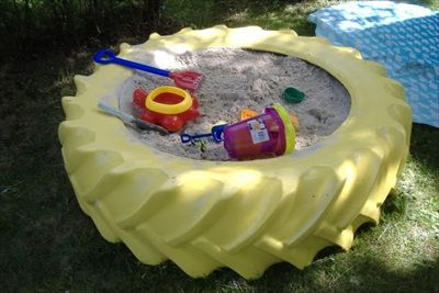 Sand tire for the outdoor play area wood below and make 2 holes for dowl rods attached to a lid?