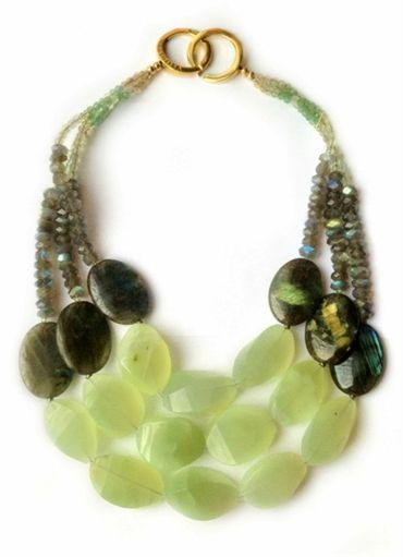 La Diosa London : ladiosa.co.uk : uman  Prehnite, labradorite, and rutilated quartz, 18 ct gold vermeil