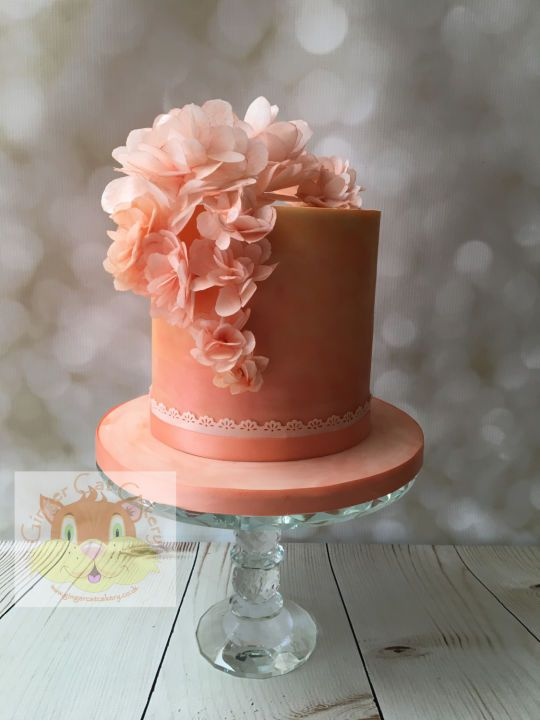 Peach Wafer Flowers Cake Flower Cake Floral Cake Wedding Cakes With Cupcakes
