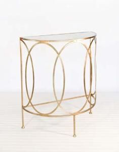 Gold Leaf Half Round Console.  Product in photo is from www.wellappointedhouse.com