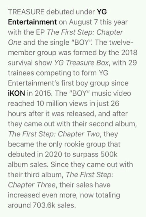 Treasure A Rookie Boy Group Became Half A Million Seller Just For Months Into Their Debut Boy Groups Chapter One Yg Entertainment