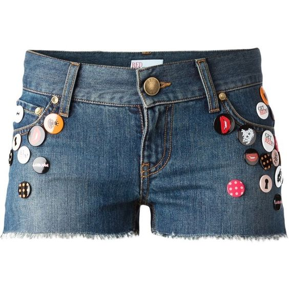 Red Valentino Pin Embellished Denim Shorts ($264) ❤ liked on Polyvore
