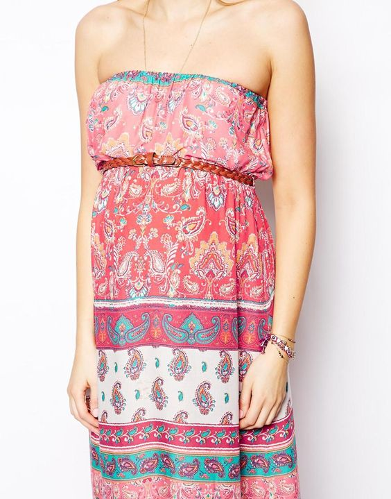 Paisely printed maternity maxi dress