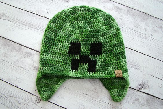 e497f5a8dd6 Crochet Minecraft Creeper Hat Teen Sm Adult. The Hat In This Listing Is  Ready