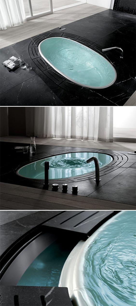 Sorgente bathtubs by lenci design awesome sunken tubs for Sunken bathtub