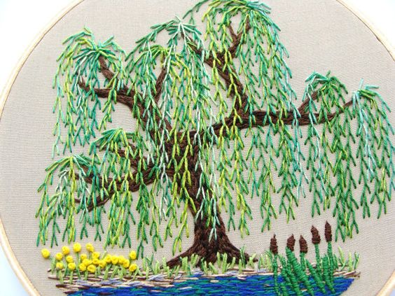 Reserved hand embroidered wall hanging weeping willow