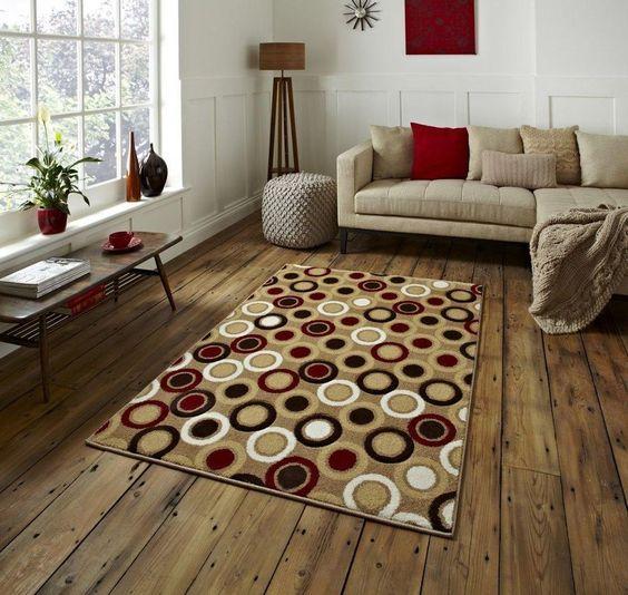 Moderner Teppich 100% Wolle Wohnzimmer Schlafzimmer Fusion beige  A100598