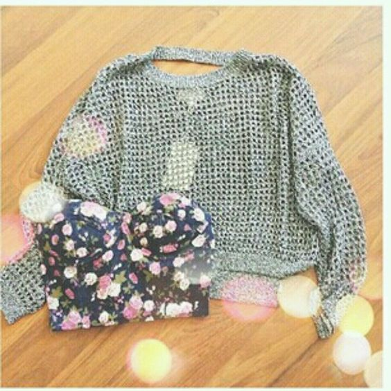 Gray See-Through Sweater & Navy Blue Floral Print Strapless Padded Belly Shirt