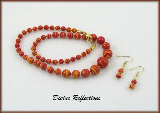 Orange Bead Necklace and Earrings Orange by DivineReflections