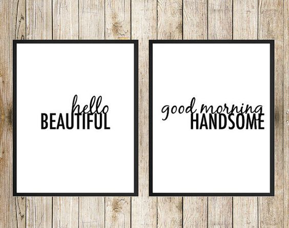 Hello Beautiful Good Morning Handsome 8X10 INSTANT DOWNLOAD Printable - His and Hers Art, Master Bedroom Print, Master Bathroom Art, Housewarming Art by Southern Spruce