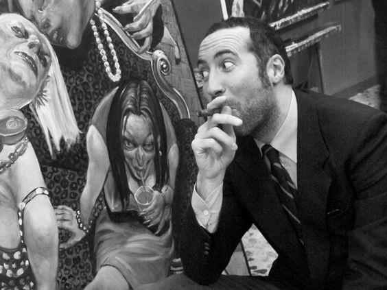 Luca Sommi, perfettamente a suo agio nei salotti di Tv Parma dove intervista Ingroia e Giannino, Sgarbi e Daverio, Castellitto e Severgnini, nei salotti su tela di Enrico Robusti si trova se possibile ancora meglio: perché vi è consentito fumare il toscano. Parma 2012.