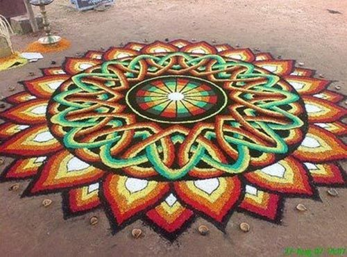 Pookalam Designs with Dots, Best Onam Pookalam Designs