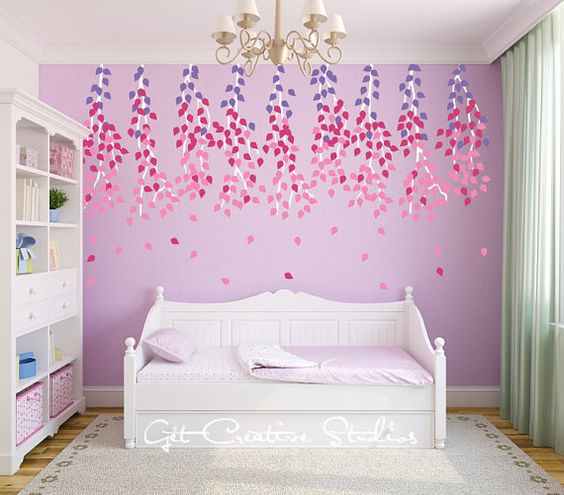 $72 customizable, so we went with purple, silver and espresso. 450 leaves! I hope they're not hard to apply. Branch Wall Decal Tree Leaves Hanging by GetCreativeStudios