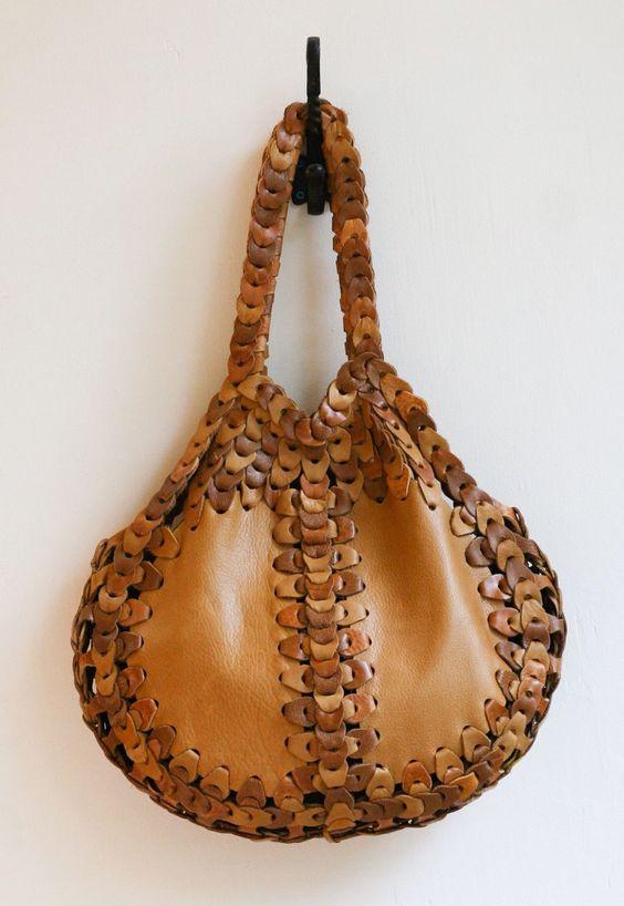 "Handmade ""Carlotta"" Shoulder Bag. Leather with Brass Hardware."