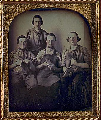 Occupation. Daguerreotype of four shoemakers.: