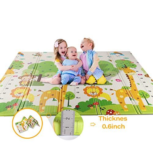 Foldable Play Mat Easy To Clean Fold Up Non Bpa Non Toxic Foam Baby Playmat 79 X 71 0 6 Thick Extra Large Reversible Crawling Baby Play Mat Playmat Infant Activities
