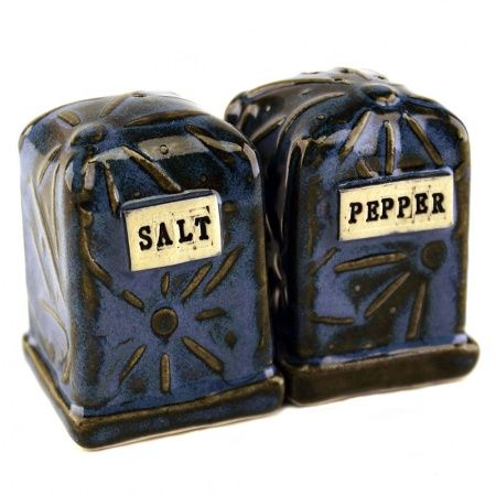 Blue Clay Salt & Pepper Shakers: Kristy Lombard Pottery