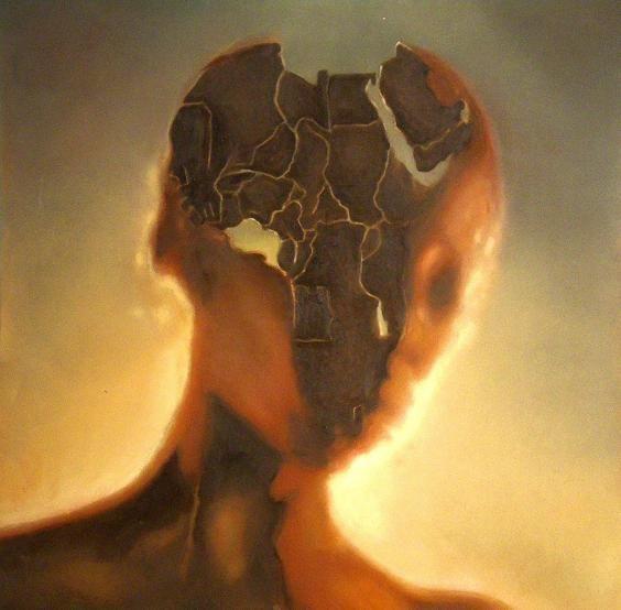 Africa  Es ist die Selbstähnlichkeit der Schöpfung, die uns staunen macht. Und so ist die Form des Kontinents zugleich die Form des Kernschattens im Antlitz seiner Bewohnerin.   Aus der Nähe nimmt man den Kontinent wahr, entfernt man sich jedoch, so tritt der Mensch immer deutlicher hervor und zuletzt spielt die Herkunft keine Rolle mehr - nur noch die Schönheit und Wahrheit des Ausdrucks. (Öl auf Holz, 70*70, 2009)