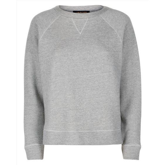 Jaeger Jaeger Jersey Marl Grey Sweatshirt (535 DKK) ❤ liked on Polyvore featuring tops, hoodies, sweatshirts, sports tops, jersey sweatshirt, sports sweatshirts, grey sweatshirt and sport sweatshirts