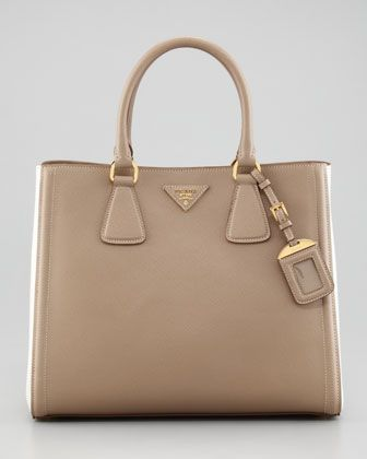 prada look alike - Saffiano Two-Tone Tote Bag, Visone/Talcom by Prada at Neiman ...