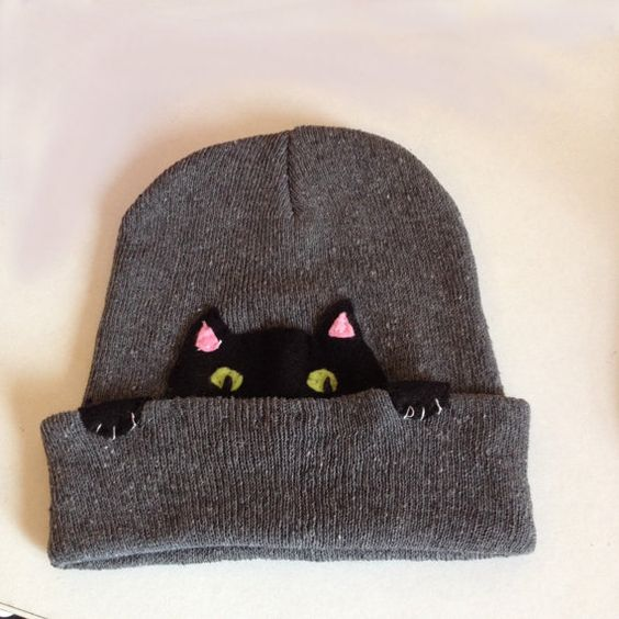 The WorriedKitty Cat Beanie on Etsy, $19.00