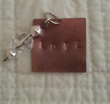 Hand Stamped Square Pendant LOVE with Crystal by WestonBoutique, $8.00