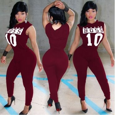 Casual Sleeveless Letters Print Wine Red Spandex One-piece Regular Jumpsuit