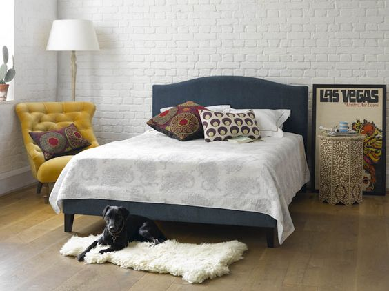 The Drayson king size bed in Midnight Blue £795  http://www.sofa.com/shop/beds/upholstered-beds/drayson-upholstered#230-BLCMID-0-0