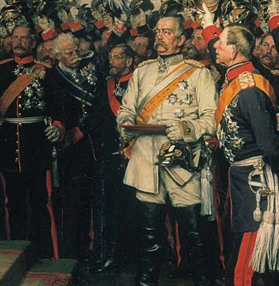 Helmuth von Moltke, Chief of Staff of the Prussian Army,  Otto von Bismarck, the newly appointed Chancellor of the German Empire, and Albrecht von Roon, Minister of War, at the coronation of Prussian King William I as the Emperor of the German Reich at Versailles in 1871.