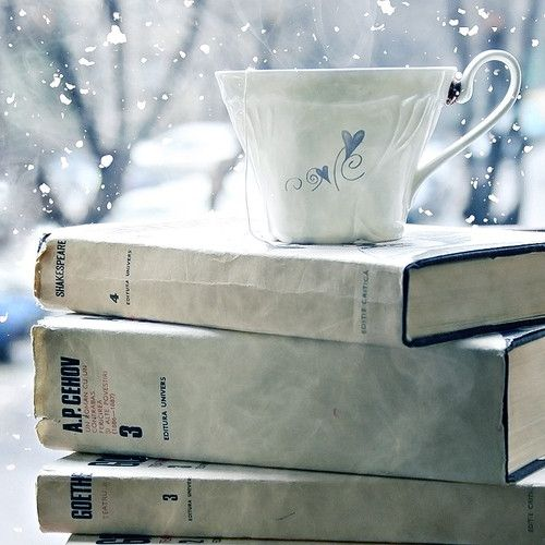 Winter delight..coffee, snow, a pile of books