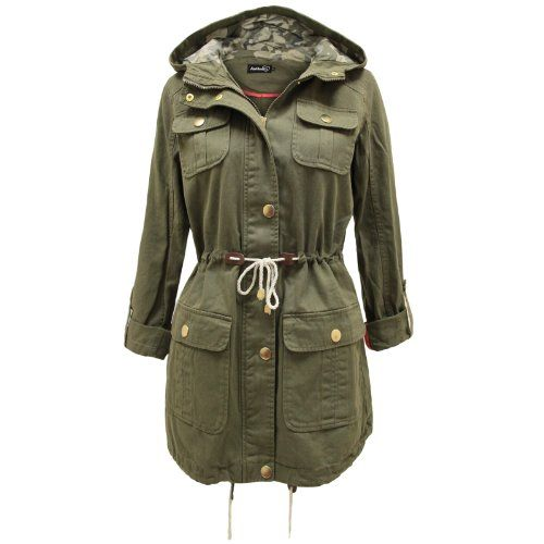 ENVY BOUTIQUE LADIES WOMENS HOODED LIGHTWEIGHT MILITARY ARMY GREEN