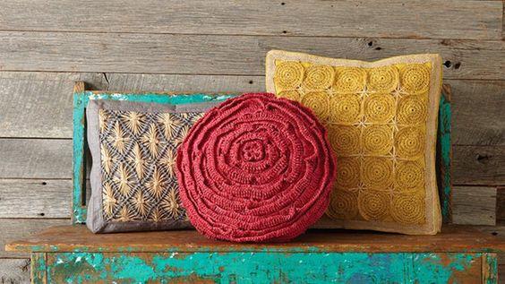 Fair Trade Multicolor Rafia Pillow, by Mar Y Sol. Available at ahalife.com