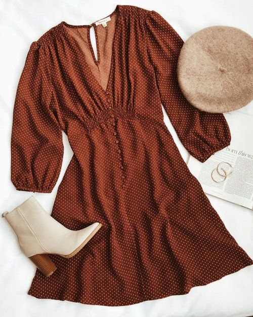Brown Polka Dot Three Quarter Sleeve Dress Fashion Outfit Inspirations Fashion Outfits