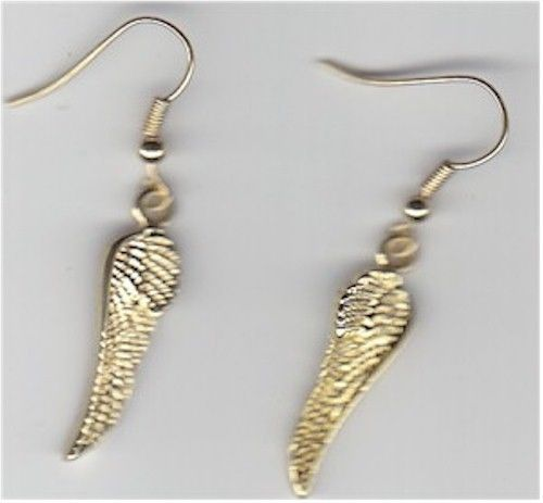 """Pair of Golden """"Angel Wing"""" Earrings with Silver Wires - Gift Boxed"""