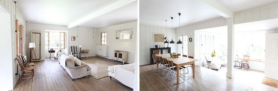 Love the warm colours of this wooden floor.  It looks great with the all white interior of the living and dining rooms.