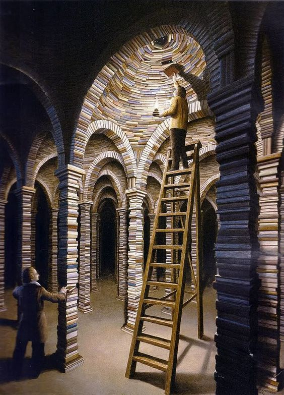 """The Library"" - surreal art by Rob Gonsalves:"