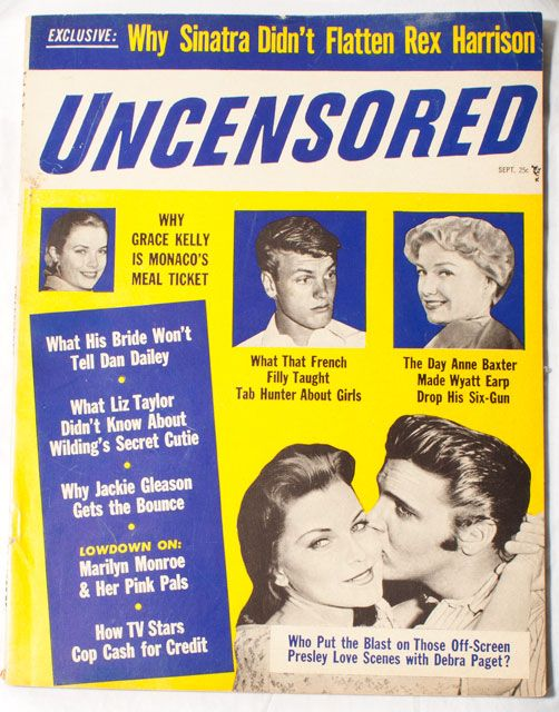Uncensored Mag Sept.1957 with Elvis, Grave Kelly, and much more at ballyhoovintage.com